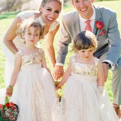 Gold Sequin Flower Girl Dress
