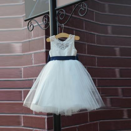 Ivory Flower Girl Dress with Navy B..