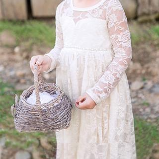 Ivory Lace Flower Girl Dress with L..