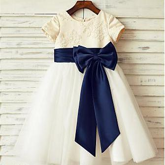 Ivory Flower Girl Dress with Navy S..