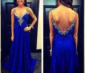 Royal Blue Chiffon Evening Dress Spaghetti Straps Prom Dress with Beadings Floor Length Party Dress Backless Formal Dress