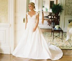 Lace Bodice with Ruched Waist Band Satin Skirt Wedding Dress Chapel Train Bridal Gown