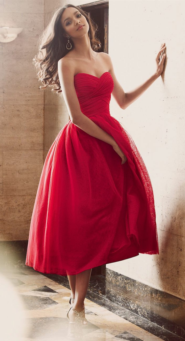 Tea Length Red Semi-formal Occasion Dress with Pleated Bodice