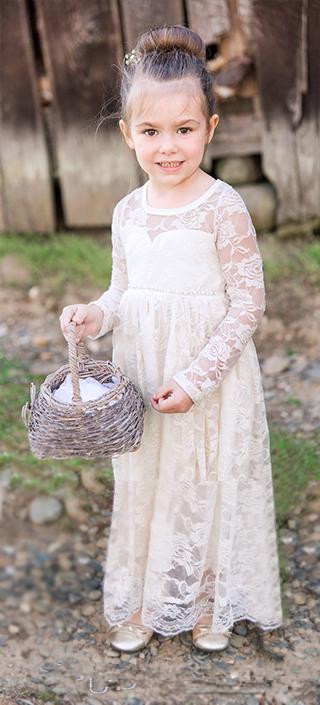 Ivory Lace Flower Girl Dress with Long Sleeves