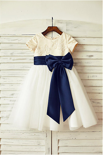 Ivory Flower Girl Dress with Navy Sash