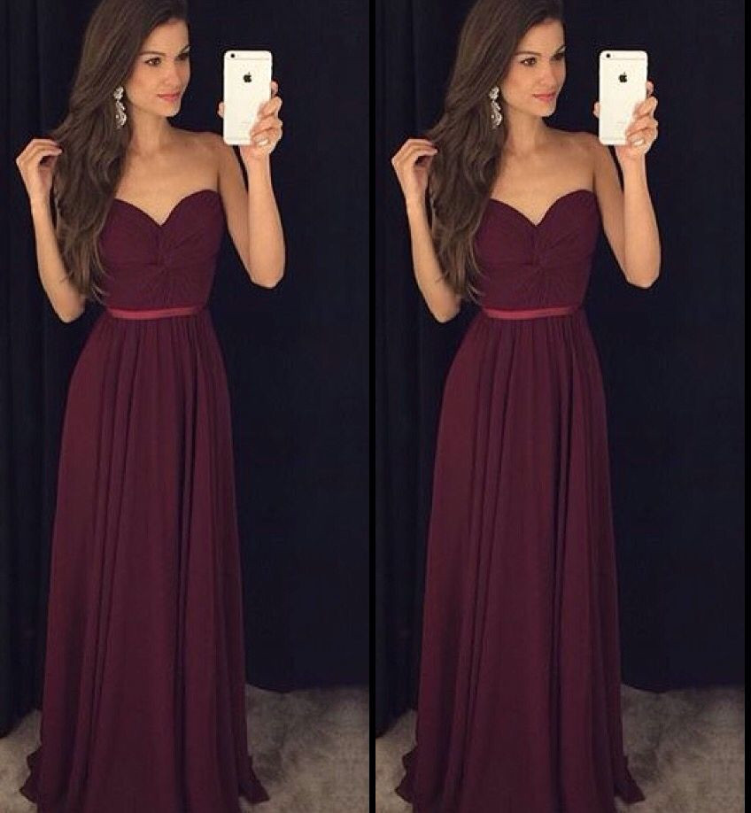 Long Burgundy Chiffon Formal Occasion Dress Bridesmaid Dress with Twisted Bodice