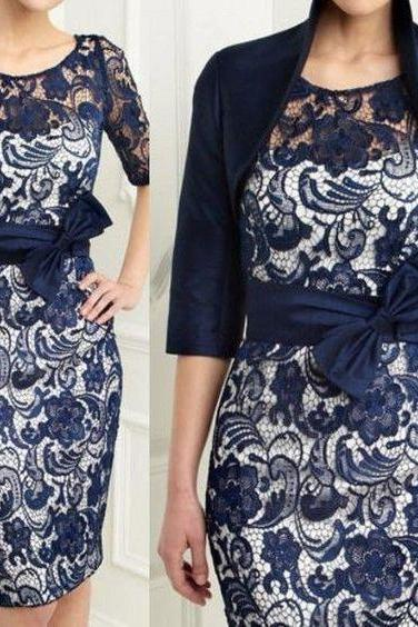 Knee Length Navy Lace Mother of the Birde/Groom Dress