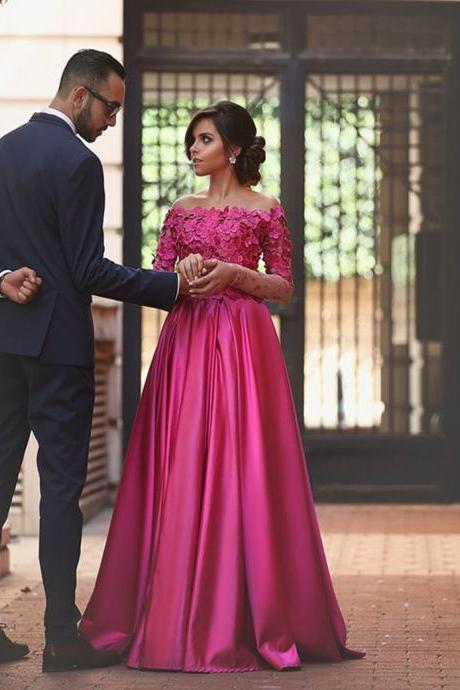 Fuchsia Long Sleeves Formal Occasion Dress Prom Dress with 3D Flowers