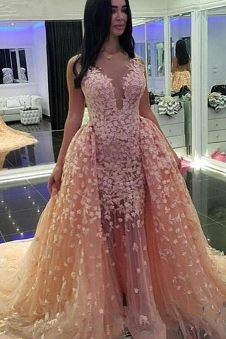 Formal Occasion Dress Sheer Neckline Champagne Pageant Dress with Lace