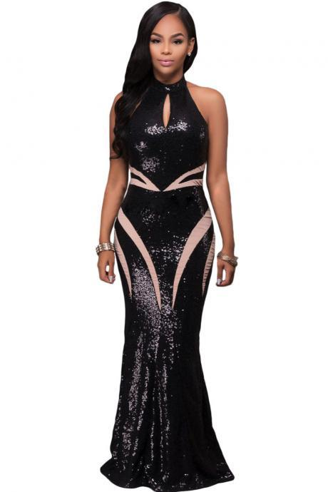 Halter Black Sequin Prom Dress