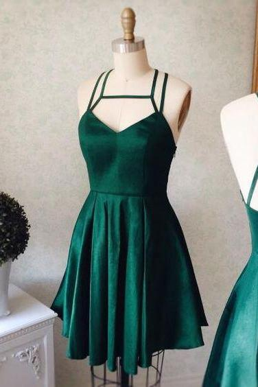 Graduation Dress Dark Green Short Dress with Strappy Back Party Dress