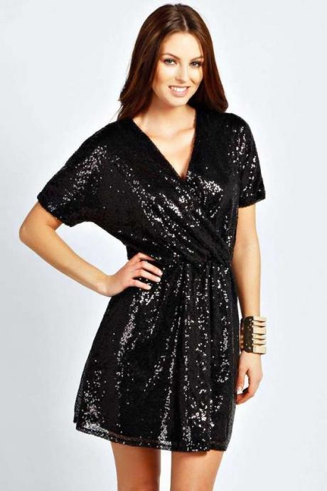 Short Black Sequin Dress with Short Sleeves