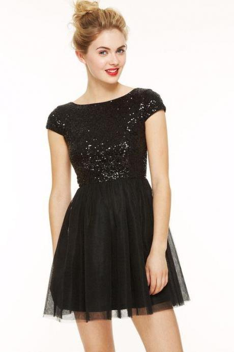 Cap Sleeves Black Sparkles Sequin Shor t Homecoming Dress