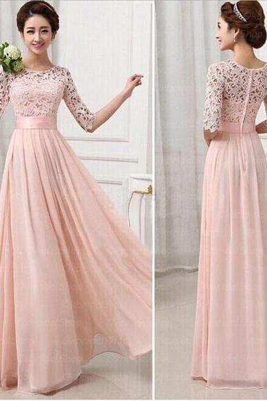 Sweet Pink Floor Length Formal Occasion Dress Evening Dress with Half Sleeves