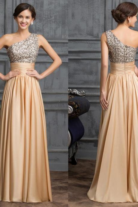 One Shoulder Long Champagne Chiffon Formal Occasion Dress with Silver Sequin Bodice