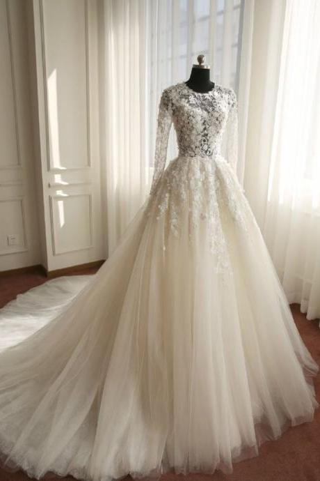Long Sleeves Ivory Tulle Wedding Dress with Sheer Bodice