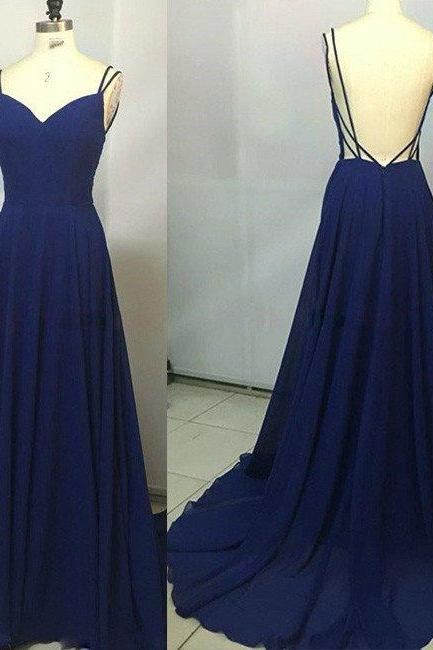 Open Back Long Chiffon Navy Blue Formal Occasion Dress with Doubled Spaghetti Straps