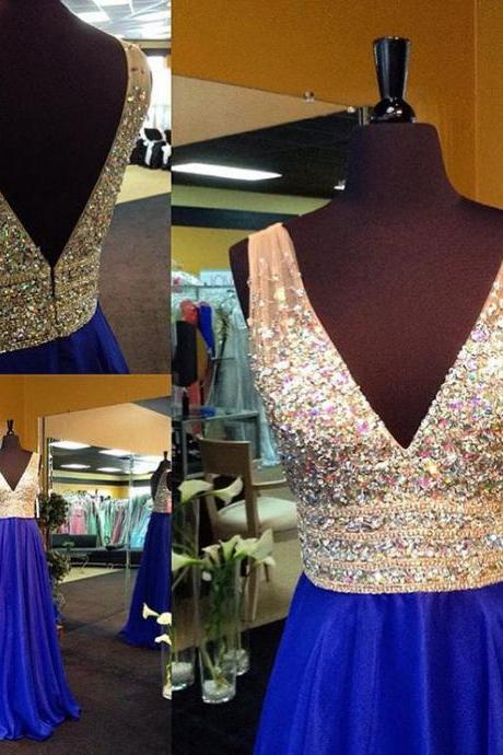 Royal Blue Beaded Prom Dress with Crystals
