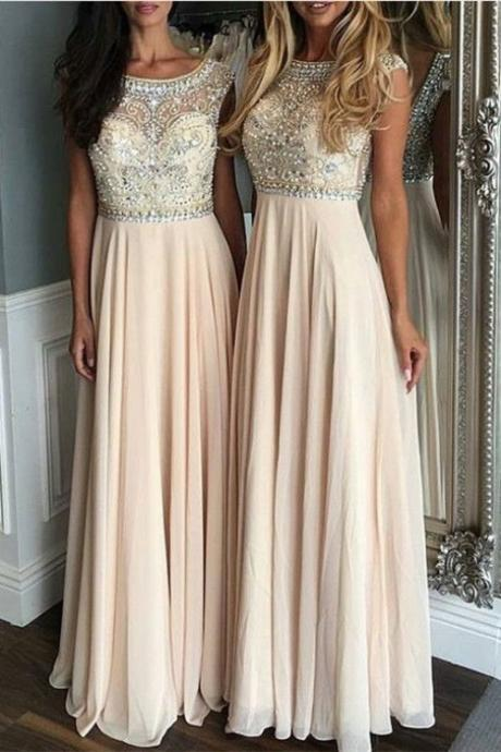 Beaded Long Prom Dress with Open V Back