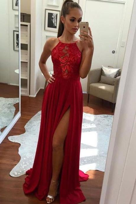 Red Chiffon Maxi Prom Dress with Slit