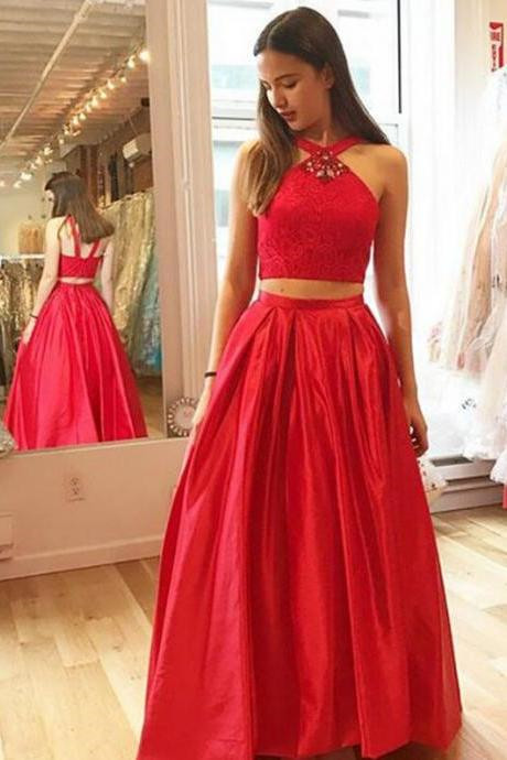 Red 2 Pieces Prom Dress