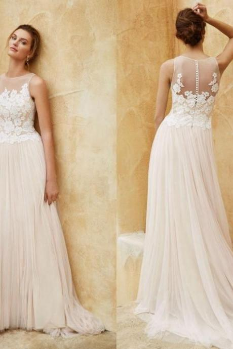 Sheer Floral Lace Appliqués Tulle A-line Wedding Dress with Sheer Back