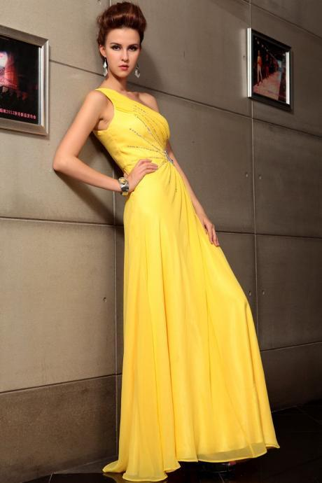 One Shoulder Yellow Formal Occasion Dress