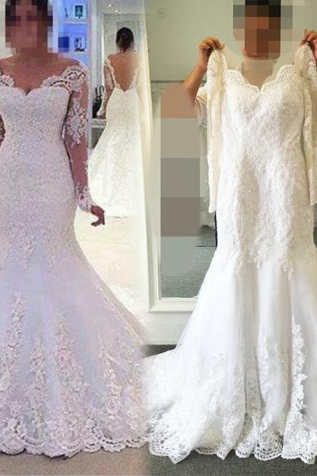 Long Sleeved Mermaid Wedding Dress with Open V Back