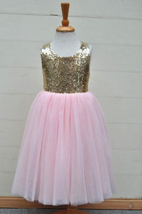 Pink Skirt Flower Girl Dress with Gold Sequin Bodice
