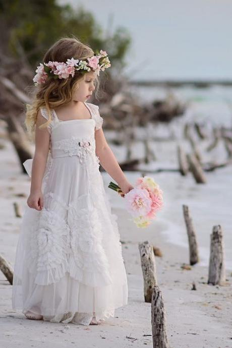 Princess Ivory Long Flower Girl Dress
