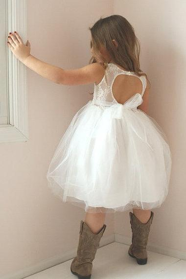 Puffy Ball Gown Flower Girl Dress with Open Back