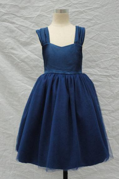 Navy Blue Girl Dress with Bow
