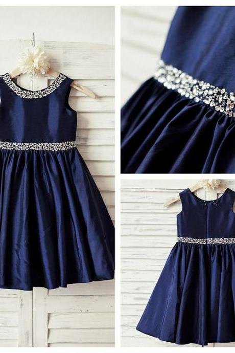 Scoop Neck Navy Taffeta Flower Girl Dress with Crystals