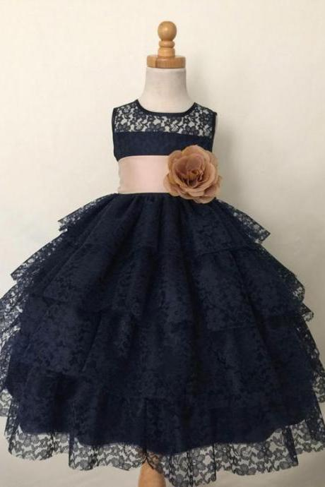 Tiered Navy Lace Flower Girl Dress with Wide Waistband