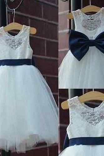 Ivory Flower Girl Dress with Navy Back Bow