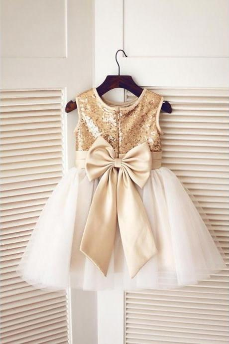 Tulle/Sequin Flower Girl Dress with Bow