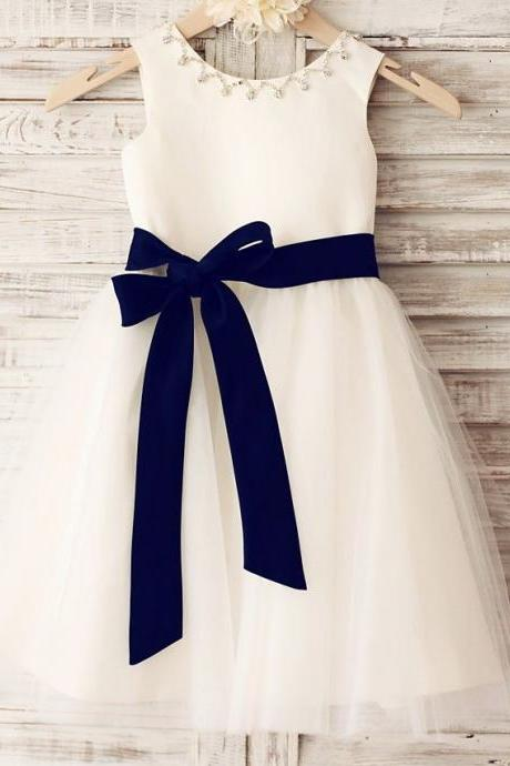 White Flower Girl Dress with Beaded Neckline