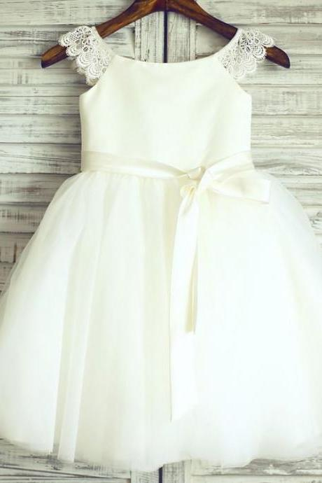 Ivory Toddler Flower Girl Tutu Dress with Ribbon Sash