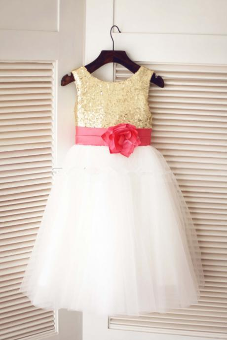 Ivory Flower Girl Dress with Gold Sequin Bodice
