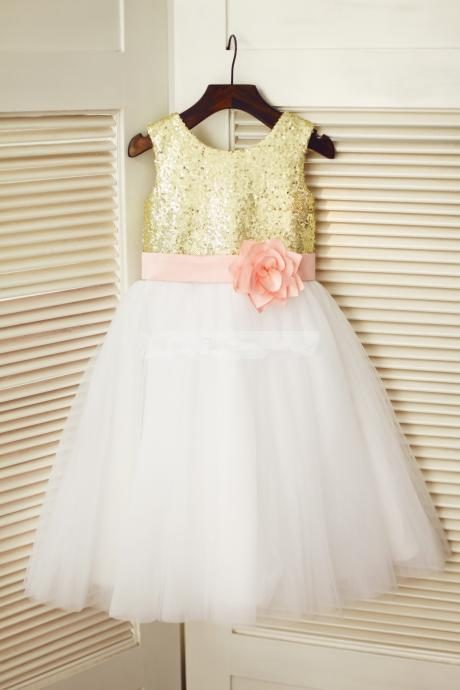Flower Girl Dress with Pink Belt
