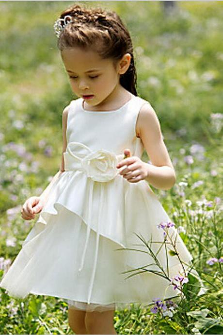 Ivory Flower Girl Dress with Tiered Skirt