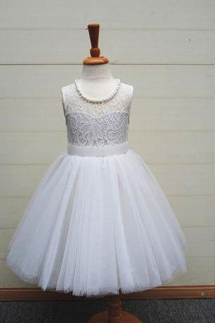 Ivory Flower Girl Dress with Pearls