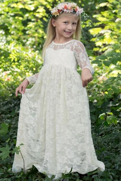 Long Sleeves Rustic Lace Flower Girl Dress