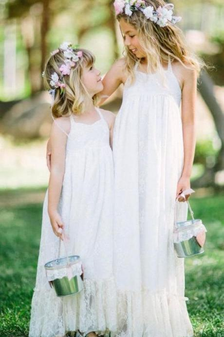 Halter Lace Ivory Flower Girl Dress