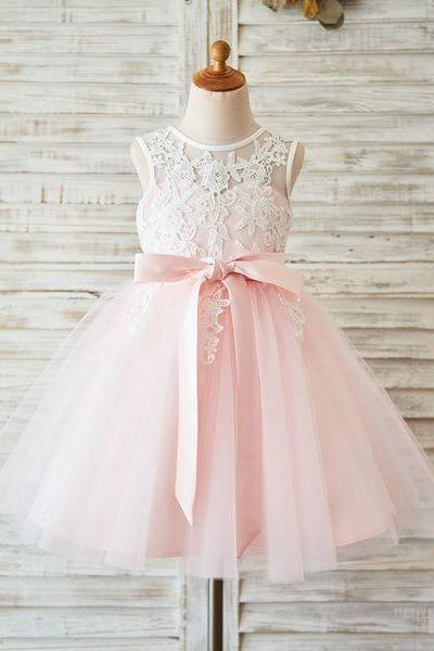 Pink Tutu Flower Girl Dress with Ivory Lace