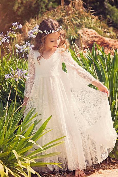 Long Lace Flower Girl Dress Communion Dress with Flare Sleeves