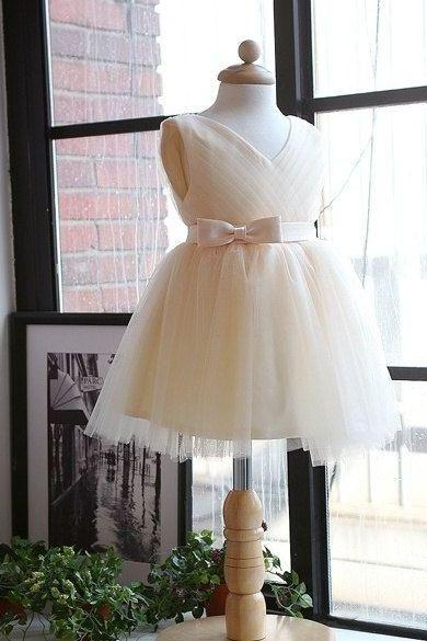 Ivory Flower Girl Dress with Pleated Skirt