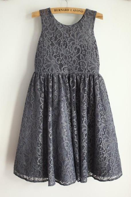 Grey Lace Girl Dress