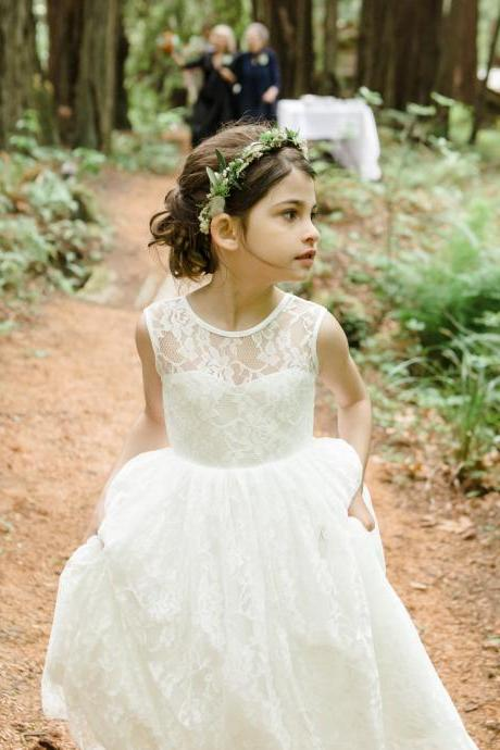 Sheer Sweetheart Neckline Ivory Lace Flower Girl Dress