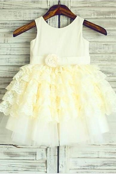 Layers Tea-Length Lace Flower Girl Dresses
